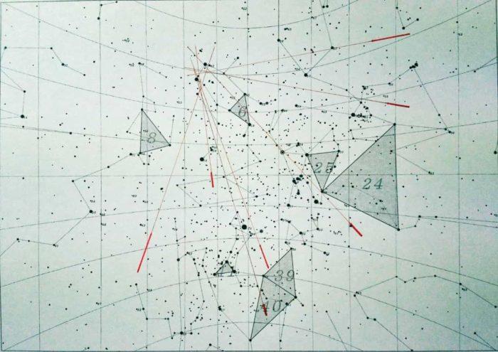 ふたご座流星群の輻射点を出す